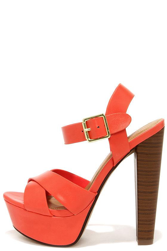 Sexy Coral Heels - Platform Heels