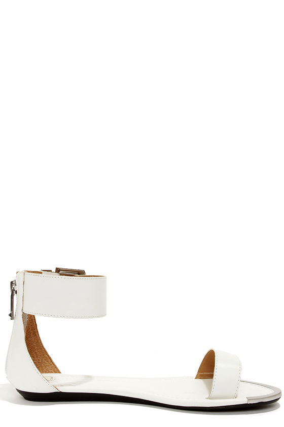 Report Signature Louie White Ankle Strap Sandals at Lulus.com!