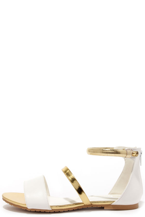 11f0b9631 Cute White Flats - Flat Sandals - Ankle Strap Sandals -  28.00