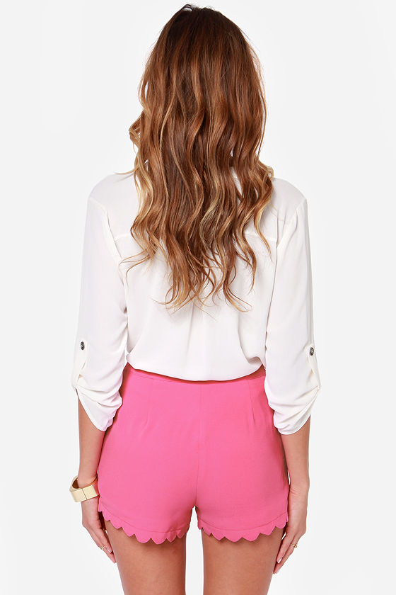 Scallop and At 'Em! Magenta Shorts at Lulus.com!