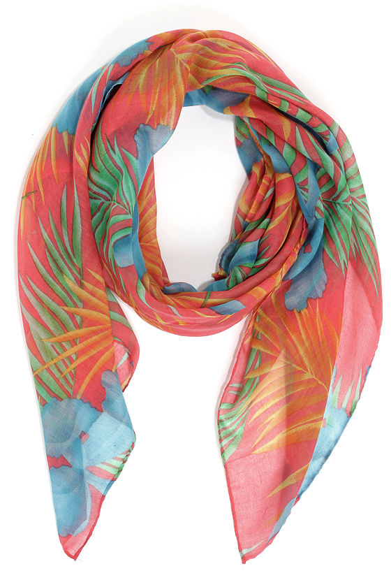 Isle Be There Pink Tropical Print Scarf at Lulus.com!
