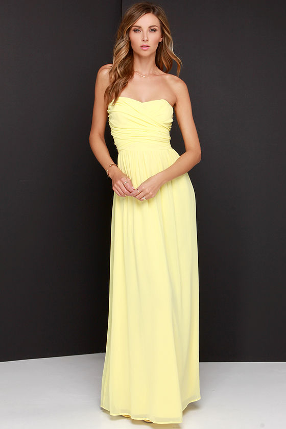 Pretty Yellow Maxi Dress - Strapless Dress - Maxi Dress - $68.00