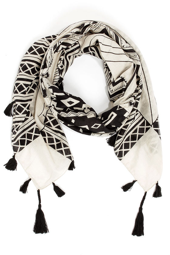 Desert Divine Black and Cream Print Scarf at Lulus.com!