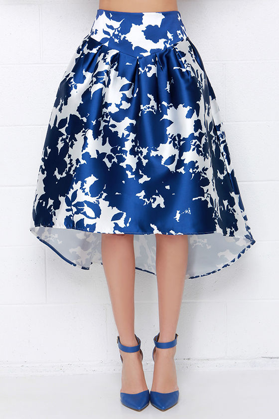 stylish midi skirt ivory and royal blue skirt high low