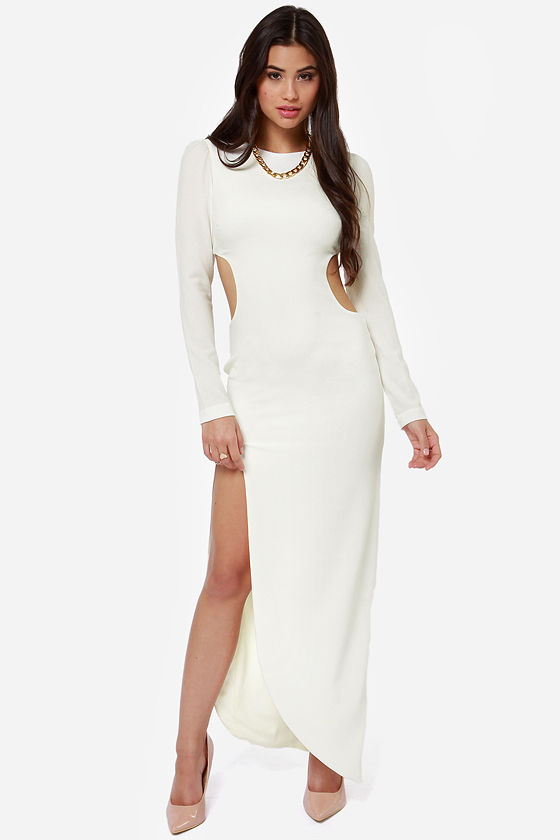 Dress the Population Julie Cutout Ivory Maxi Dress at Lulus.com!