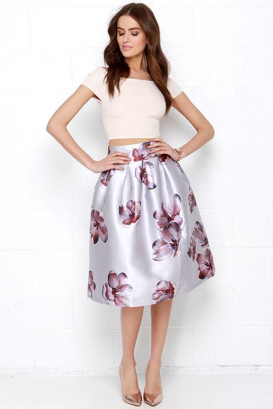 9589ba605f Floral Print Skirt - Silver Midi Skirt - Elegant High-Waisted Skirt - $84.00