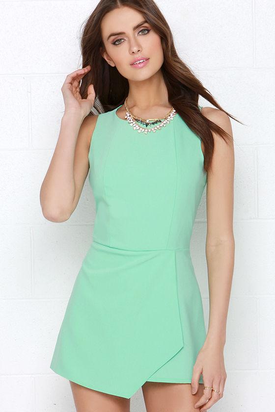 e73547ea62b Cute Mint Green Romper - Envelope Skort - Chic Sleeveless Romper -  79.00