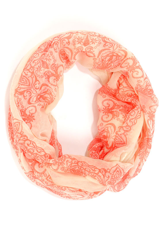How've You Zen? Coral and Cream Print Infinity Scarf at Lulus.com!