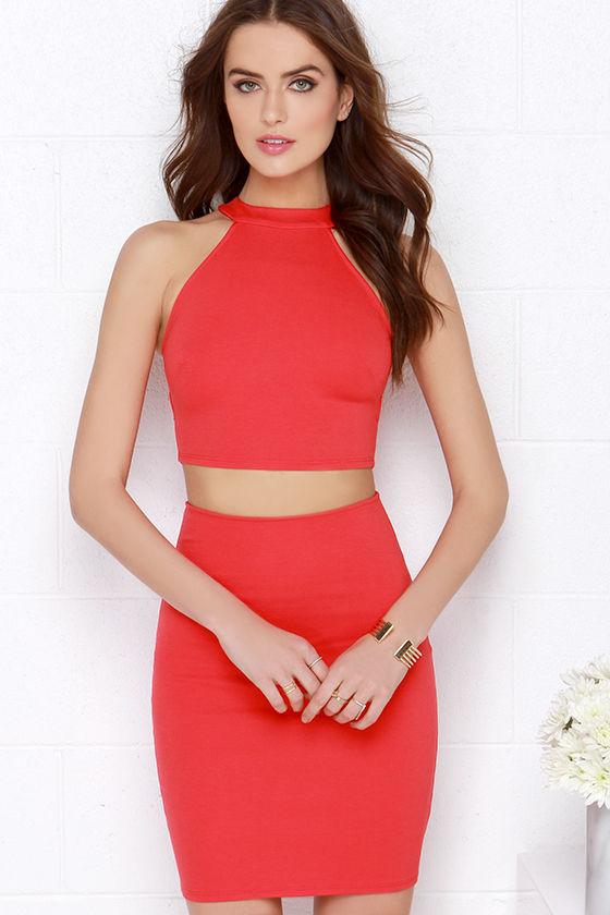 83b0cb530 Sexy Red Dress - Two-Piece Dress - Crop Top Dress - $64.00