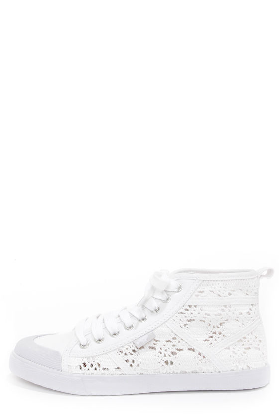 ef9f90e35 Cute White Shoes - Lace-Up Sneakers - Crochet Shoes - Lace Shoes ...