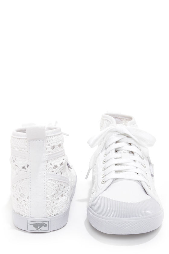Rocket Dog Amati White Crochet Lace-Up Sneakers at Lulus.com!