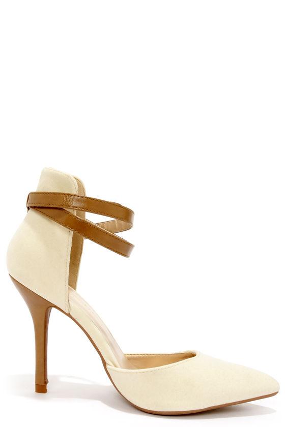 Cute Pointed Heels - Nude High Heels - Ankle Strap Heels - $35.00