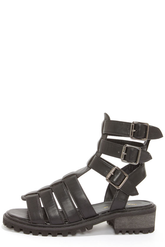 Shoe Republic LA Antonio Black Strappy Sandals at Lulus.com!
