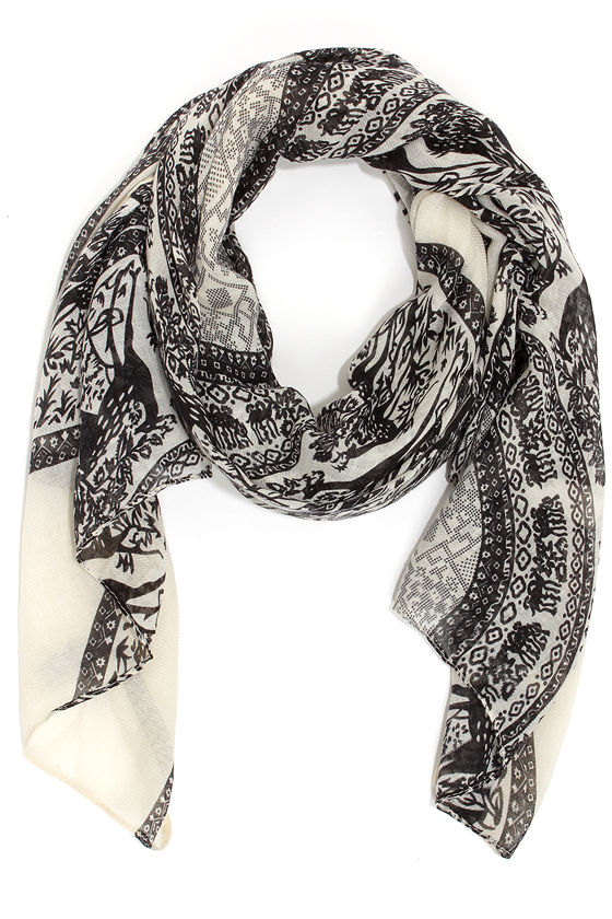 Near and Deer Black Print Scarf at Lulus.com!