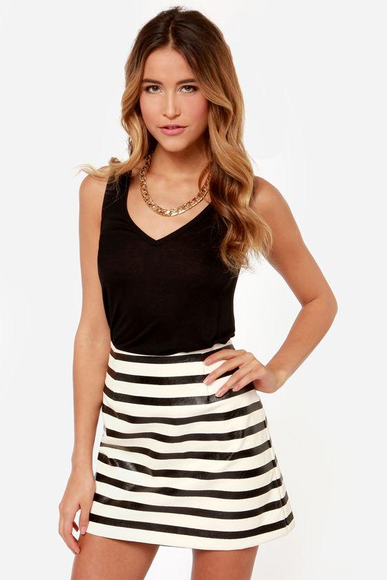 MinkPink Next In Line - Striped Skirt - A-line Skirt - High ...