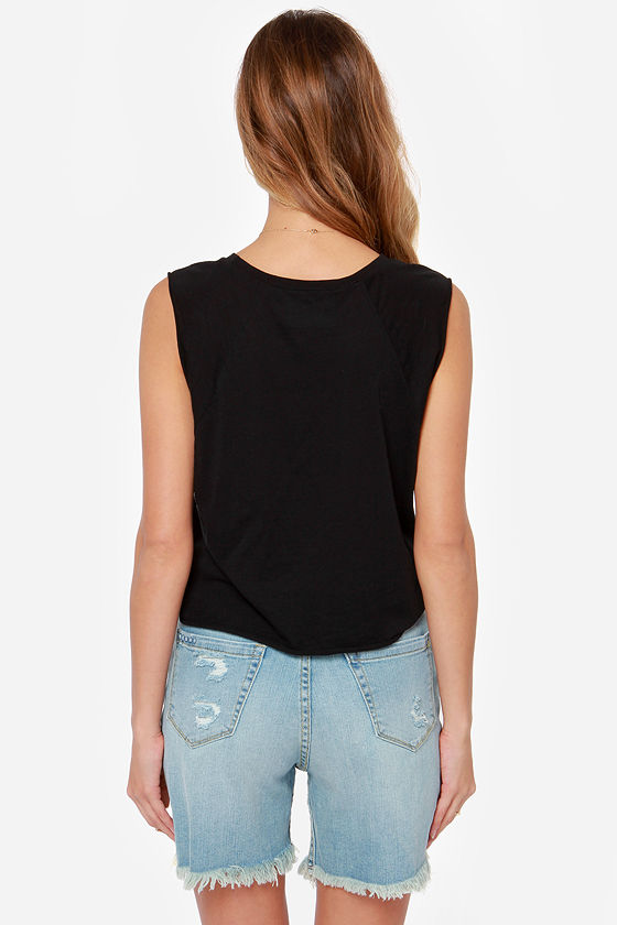 Mink Pink For Now Cropped Black Tee at Lulus.com!