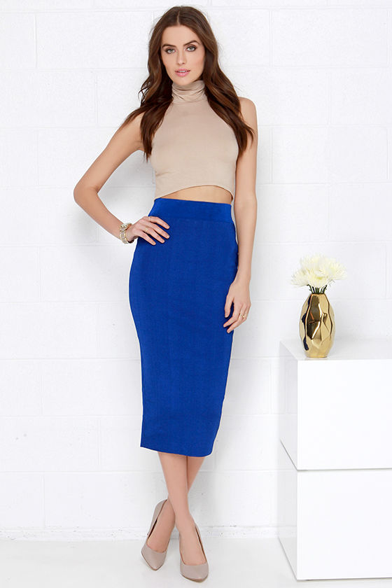 Sexy Bodycon Midi Skirt Royal Blue Skirt 43 00