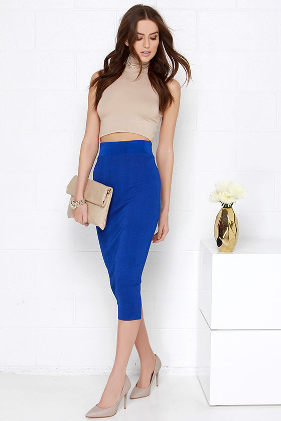bodycon midi skirt royal blue skirt 43 00