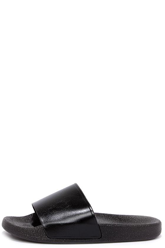 86c702180 Cute Black Sandals - Slide Sandals - Flat Sandals -  12.00