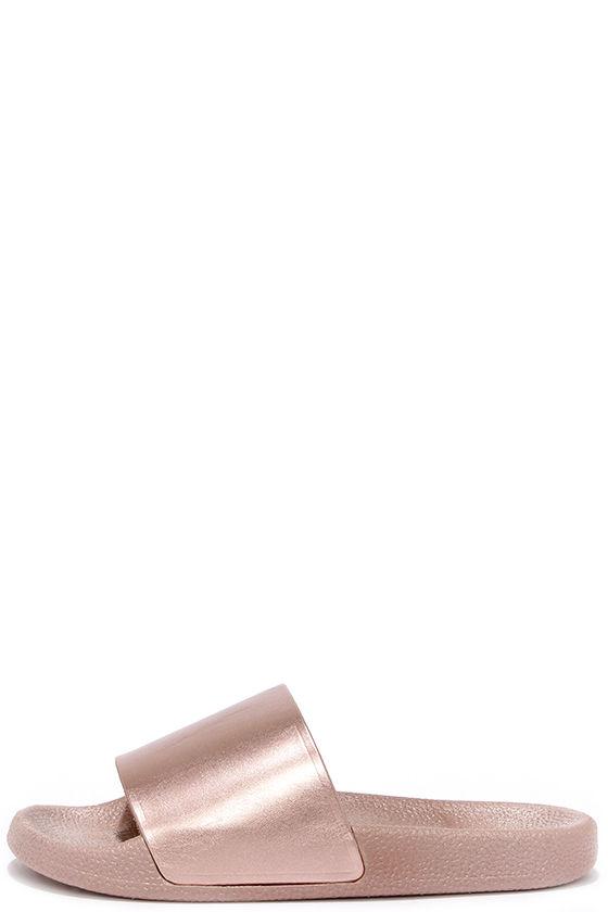 57394f8b956c Cute Rose Gold Sandals - Slide Sandals - Flat Sandals -  12.00