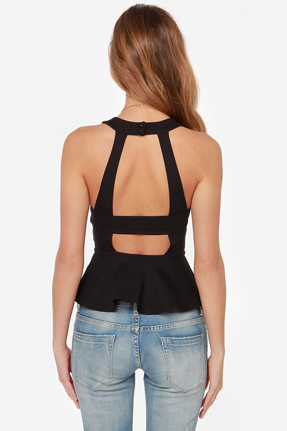 Nobody's Baby Backless Black Peplum Top at Lulus.com!