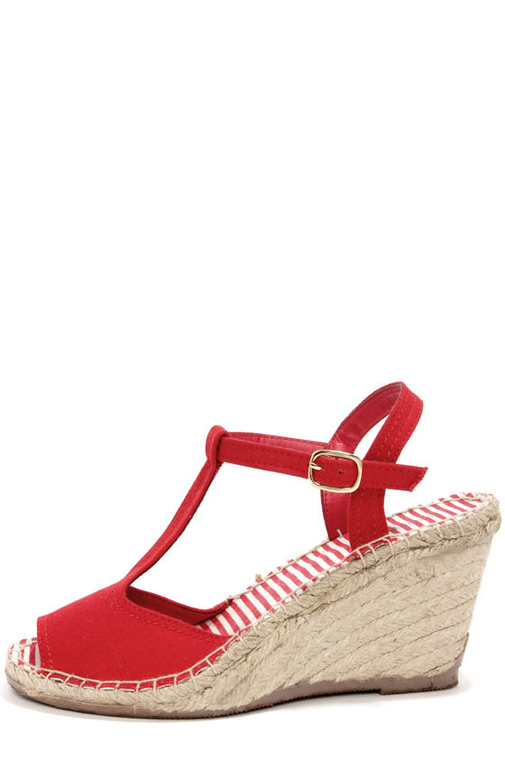 Bamboo Ivana 02 Red T-Strap Espadrille Wedges at Lulus.com!