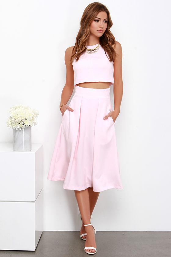 Cute Light Pink Dress - Two-Piece Dress - Midi Dress - $125.00