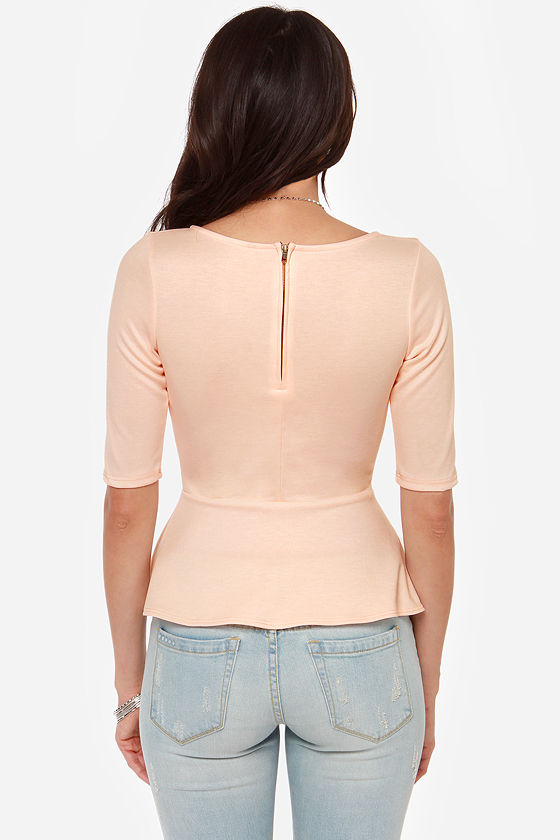 LULUS Exclusive Perk Up Light Peach Peplum Top at Lulus.com!