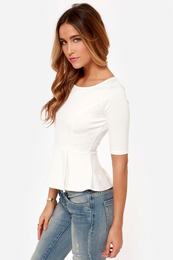 LULUS Exclusive Perk Up Ivory Peplum Top at Lulus.com!