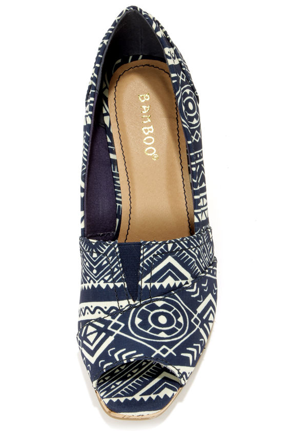 Bamboo Leah 01 Blue Print Peep Toe Wedges at Lulus.com!