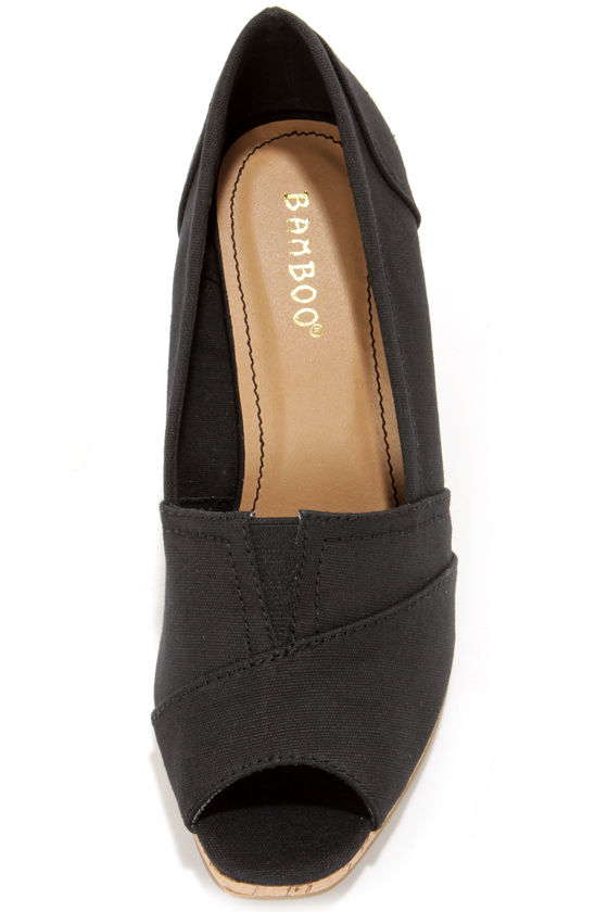 Bamboo Leah 01 Black Peep Toe Wedges at Lulus.com!