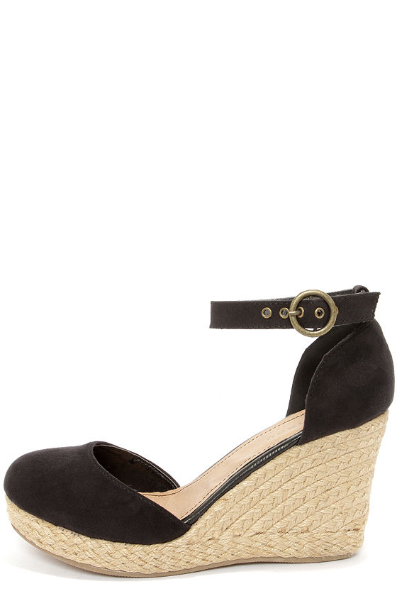 9c85f8b9e54d1 Fun Black Wedges - Espadrille Wedges - Black Shoes -  32.00