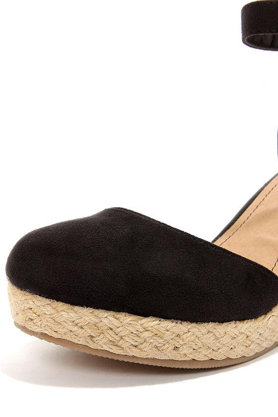 Bamboo Tessa 01 Black Espadrille Wedges at Lulus.com!