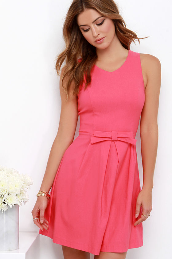 Pretty Coral Pink Dress - Fit and Flare Dress - $44.00