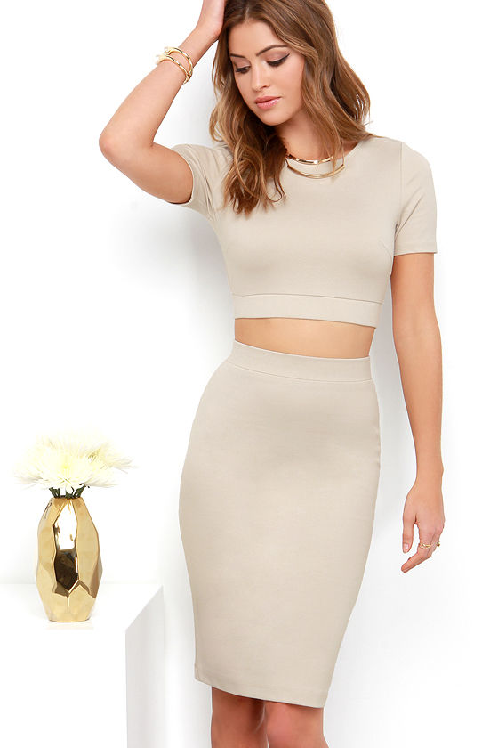 58121d41d9 Sexy Beige Dress - Two-Piece Dress - Bodycon Dress - Cutout Dress -  44.00