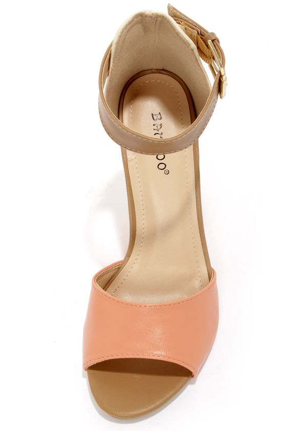 Bamboo Gorgy 04 Coral Ankle Strap Wedges at Lulus.com!