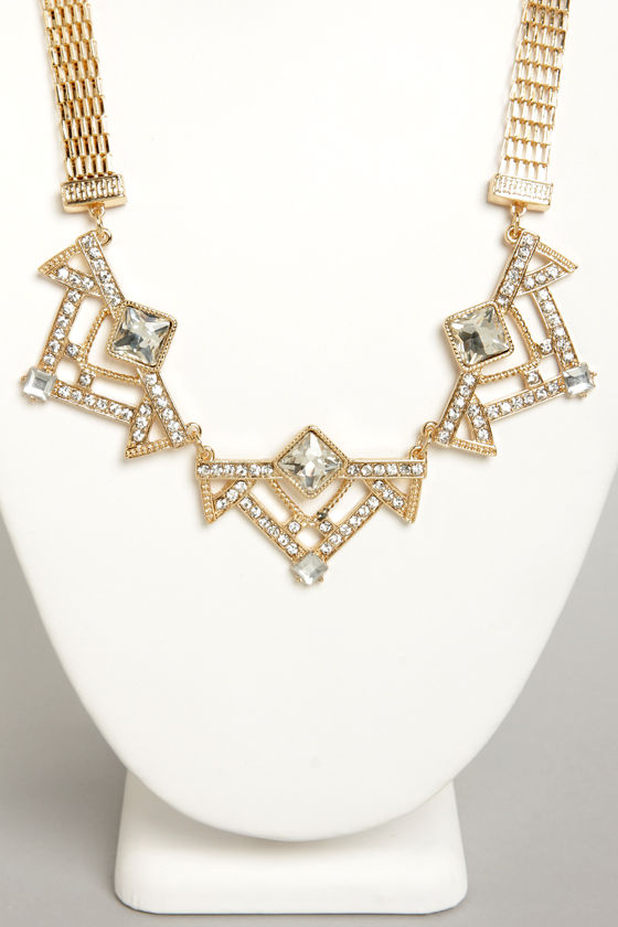 Art Decadence Gold Rhinestone Necklace at Lulus.com!