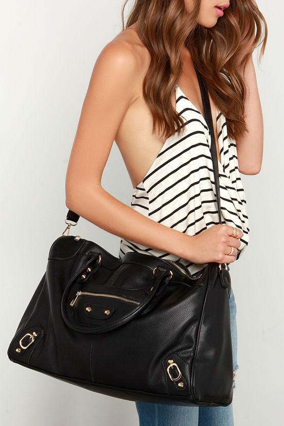 7125bf7f883c Chic Black Bag - Weekender Bag - Vegan Leather Weekender -  54.00
