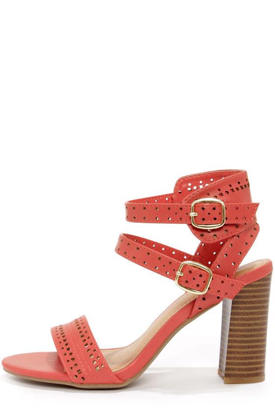 3ab84d57287 Cute Coral Sandals - High Heel Sandals - Cutout Sandals -  34.00