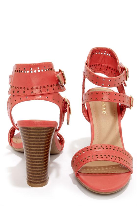 a193aa627b4e Cute Coral Sandals - High Heel Sandals - Cutout Sandals -  34.00