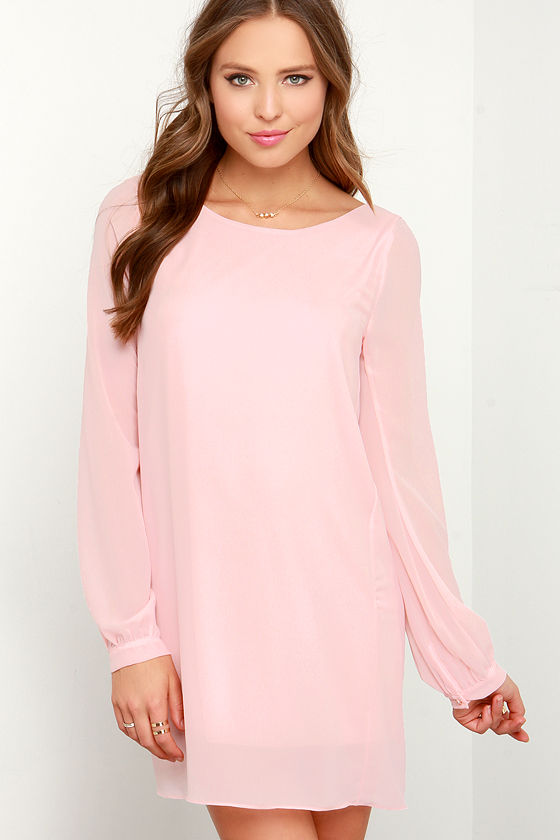 991aa51aca Peach Chiffon Dress - Long Sleeve Dress - Shift Dress -  38.00