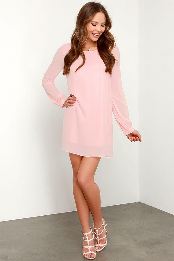 Peach Chiffon Dress - Long Sleeve Dress - Shift Dress - $38.00