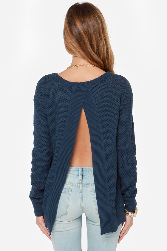 BB Dakota Kit Navy Blue Sweater at Lulus.com!