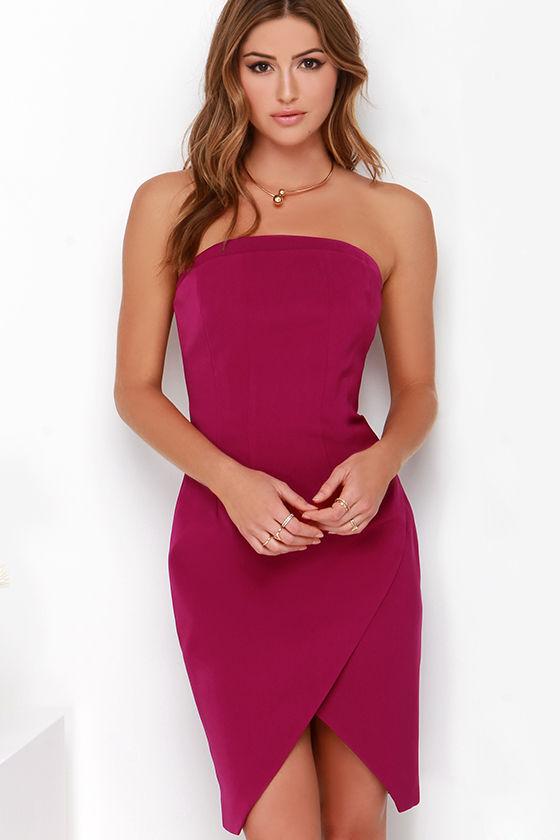a0ea1949941c Keepsake Symphonies Dress - Strapless Dress - Magenta Dress -  169.00