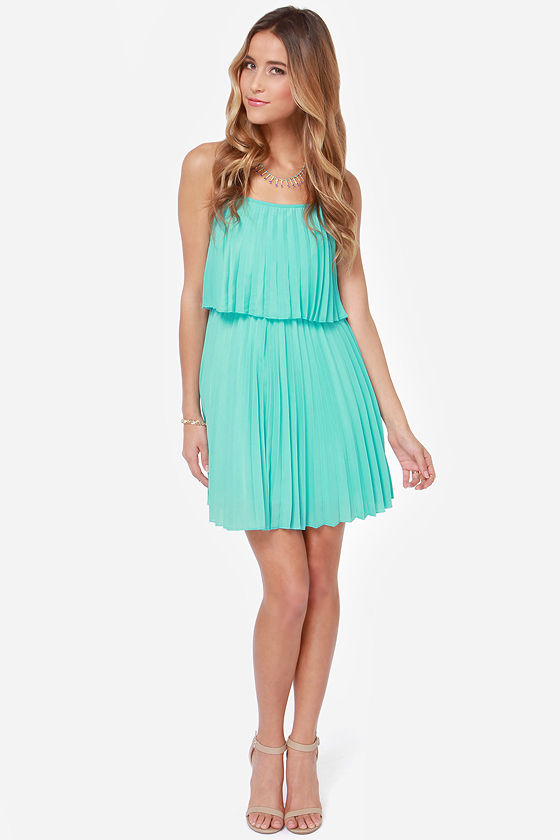 Pleats on Earth Turquoise Dress at Lulus.com!