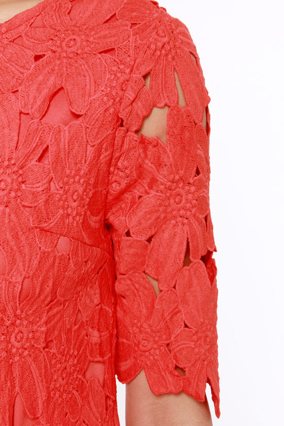 Lacy Luck Red Lace Dress at Lulus.com!