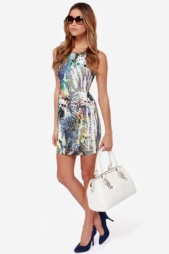 Ladakh Spring Bloom Multi Print Bodycon Dress at Lulus.com!