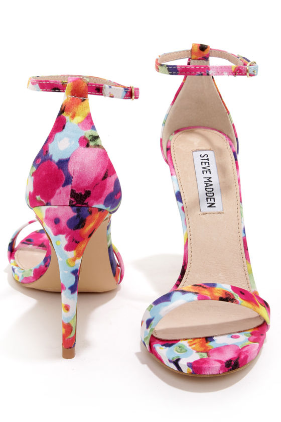 f1b19973cfd Steve Madden Stecy - Floral Print Ankle Strap Heels