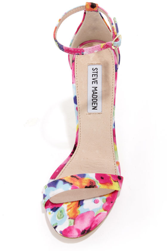 Steve Madden Stecy - Floral Print Shoes - Ankle Strap Heels - $79.00