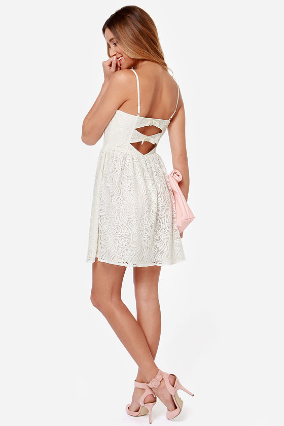 Nice Lace Ivory Lace Dress at Lulus.com!